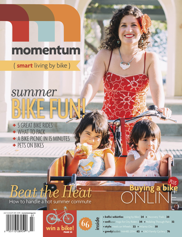 Single Mom marketing guru Shelby Sanchez of Dream Inspired Design of Long Beach with her two daughters in their beloved cargo bike are the cover story for Momentum Magazine for July/August.. Image by Lisa Beth Anderson.