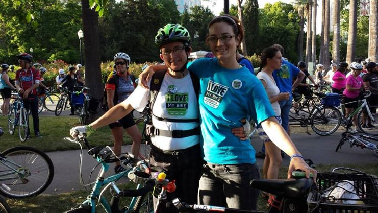 My good friend, Cyd, and me at the Sacramento Ride of Silence this May. Photo courtesy of Phoebe Hillclimber