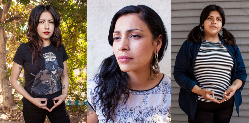 From left: Andi Xoch, Xela de la X (founder of Ovarian Psycos), and Evie. Images by Michael Raines