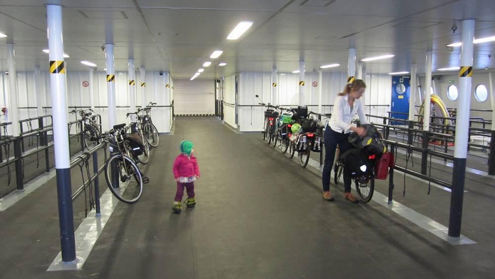Large harbor ferries with ample bike storage