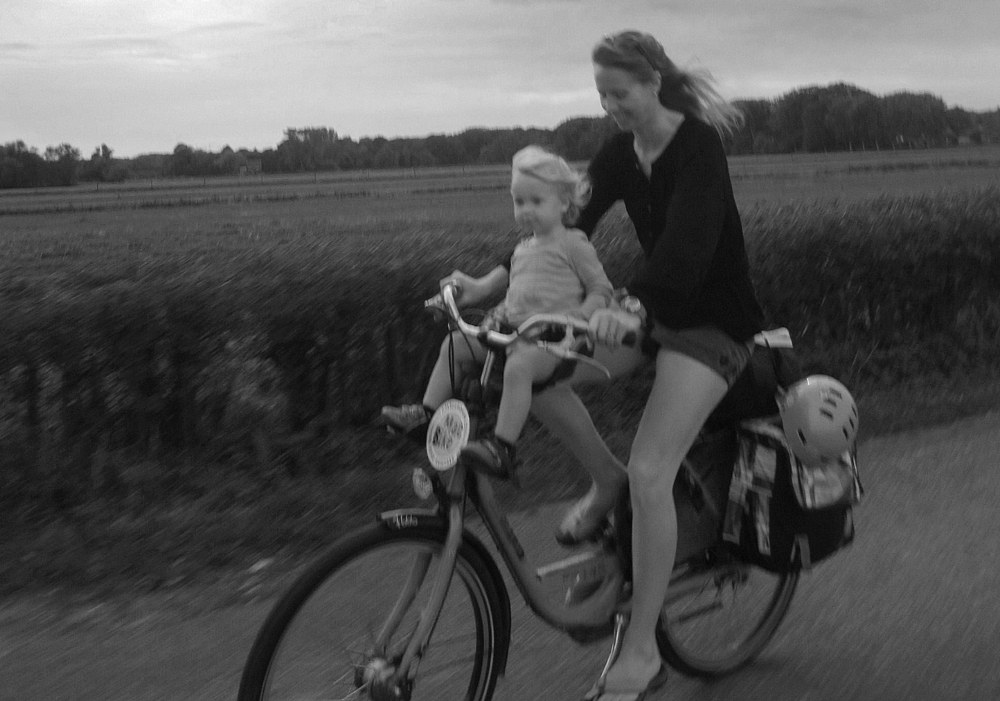 My daughter, Annika, and I biking through a tulip field in The Netherlands.