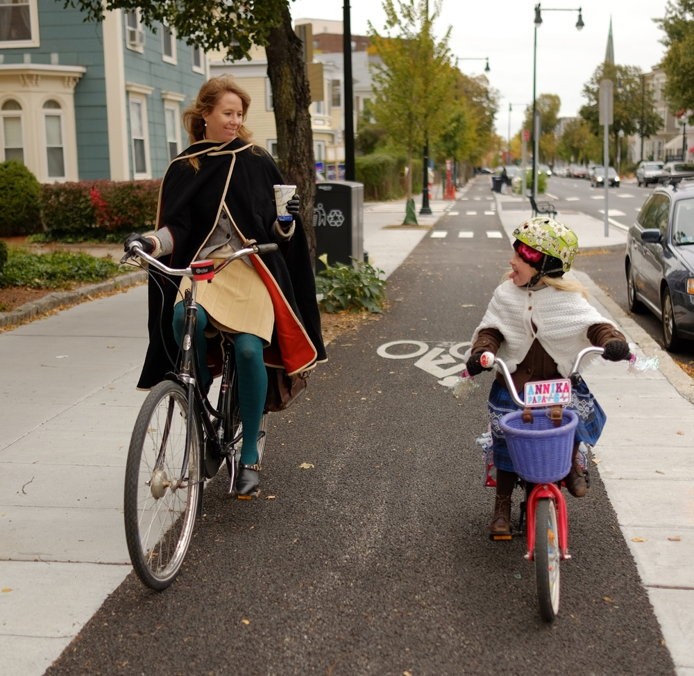 My now 6 year old daughter and I biking the new Western Avenue cycle track in Cambridge, MA.