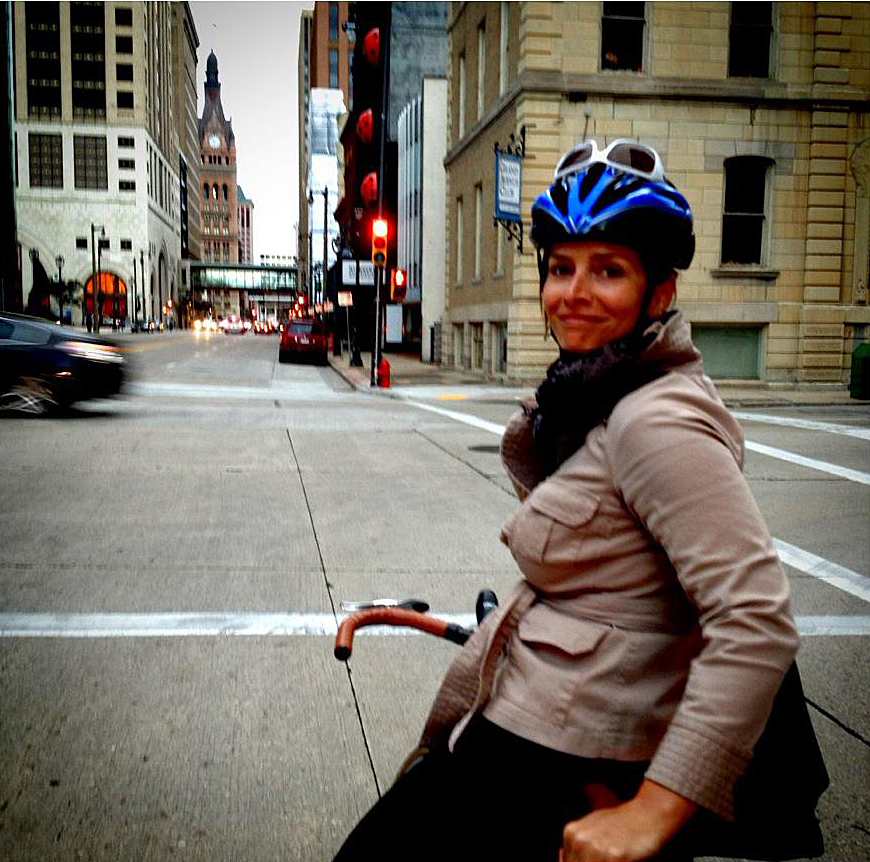 Joceylyn riding through Milwaukee's Historic Third Ward. Photo: Lisa Snyder