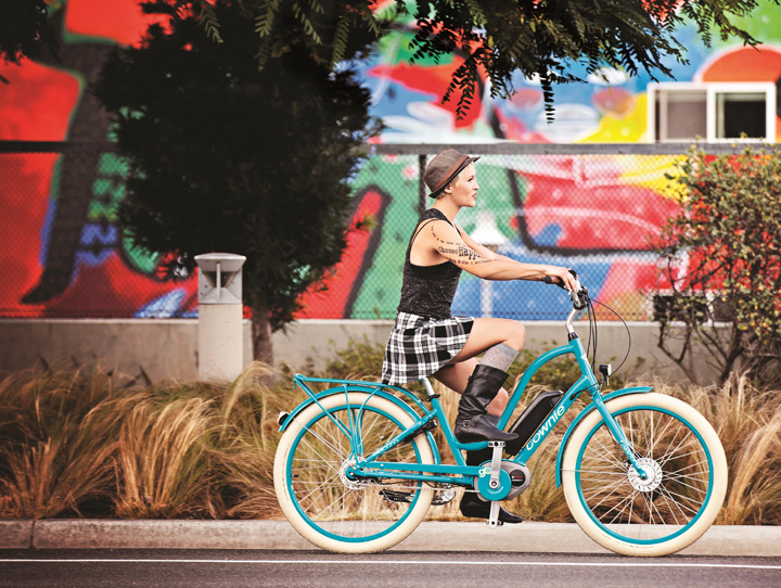 "Pictured here is the Electra Townie ""Go,"" the electric version of the most popular bike in the country sold through independent bike dealers. According to NPD Market Group, it has $9 million in sales this year as of July."