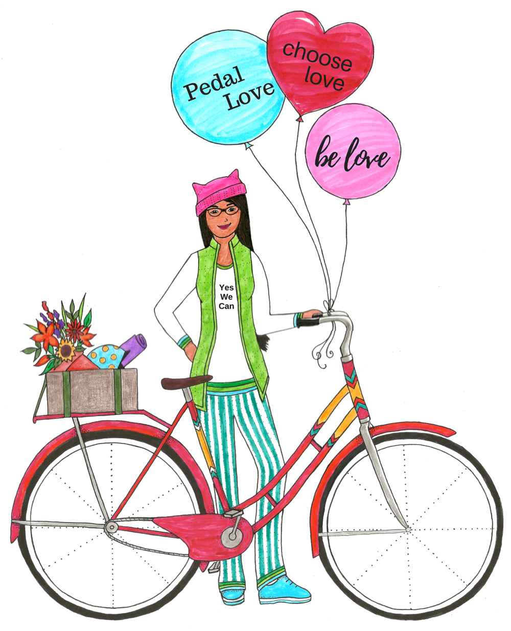 The colored in version of my Pedal Love Girl illustration wearing a Pussy Hat is available as t-shirts, mugs and other nice things on our Pedal Love online boutique at Zazzle.com. She'll also be available for you to color in yourself in the upcoming Pedal Love coloring book.