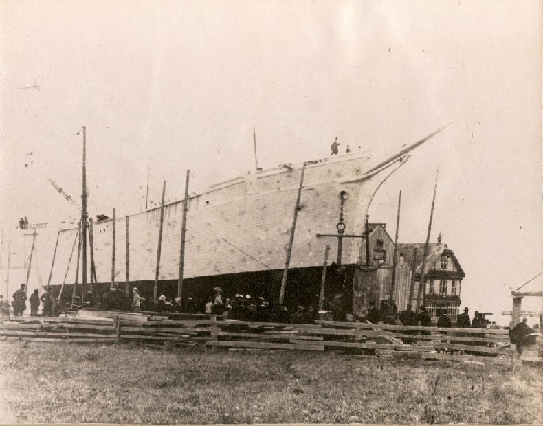 This photo shows the launch of the Edna M. Smith the last ship built at the Turner Shipyards in Harvey Bank, in 1903.
