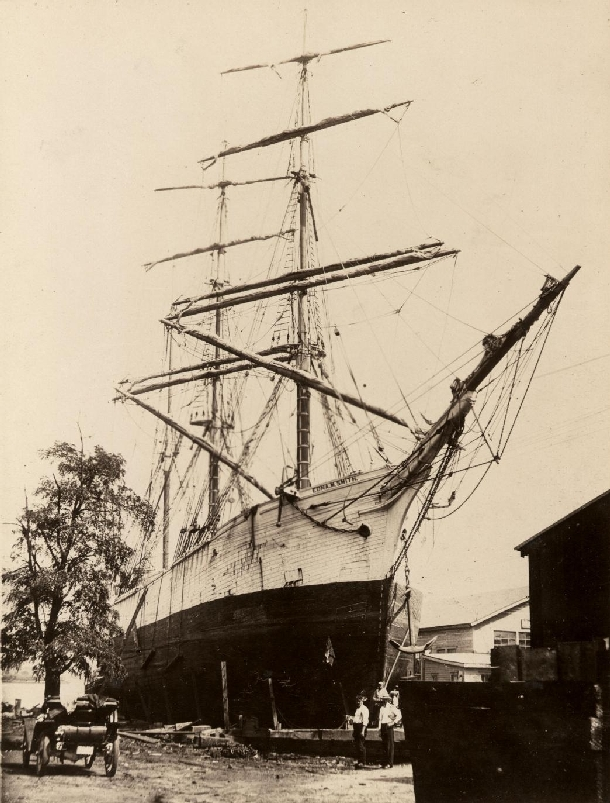 This photo shows the Edna M. Smith built at the Turner Shipyards in Harvey, at some unknown dry dock having repairs done.