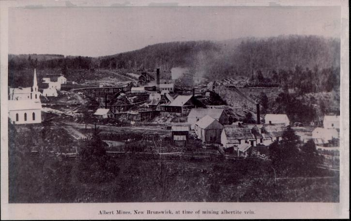 This photograph shows a view of Albert Mines N.B. around 1860. 1860 Albert Mines, New Brunswick, Canada