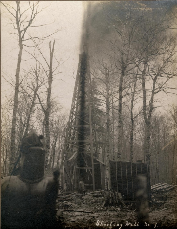 Oil well #7, at the oil fields in Weldon.   1910   Stoney Creek, New Brunswick, Canada
