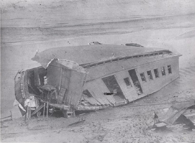 This railway car was destoryed when the Shepody River railway bridge collapsed on June 30th 1894. 1 July 1894 Albert, New Brunswick, Canada