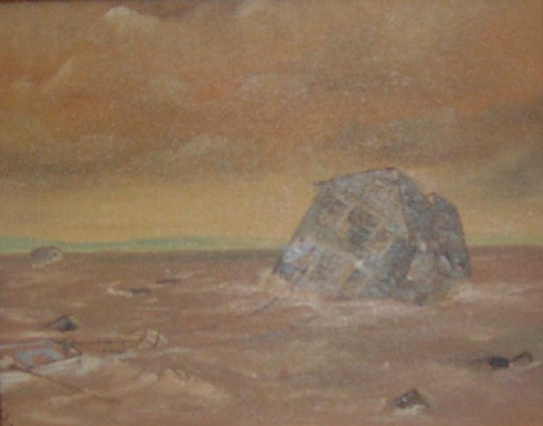 Painting depicting a house being lifted and swept away from its foundation by surging tidal waves.  2003