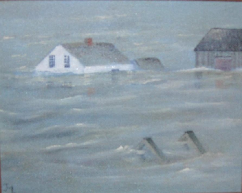 This painting depicts rising tidal waters flooding a farm house during the Saxby Gale.