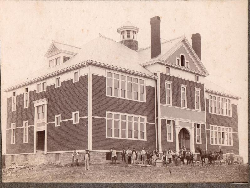 The Riverside Consolidated School just prior to the completion of the school in 1905.   Riverside, Albert County, New Brunswick