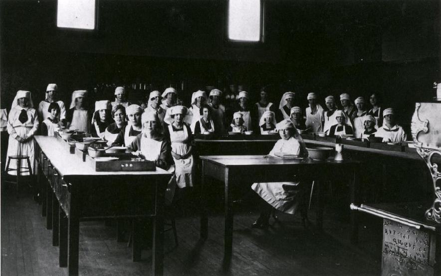 One of the early domestic science classes at the Riverside Consolidated School.   1905   Riverside, Albert County, New Brunswick
