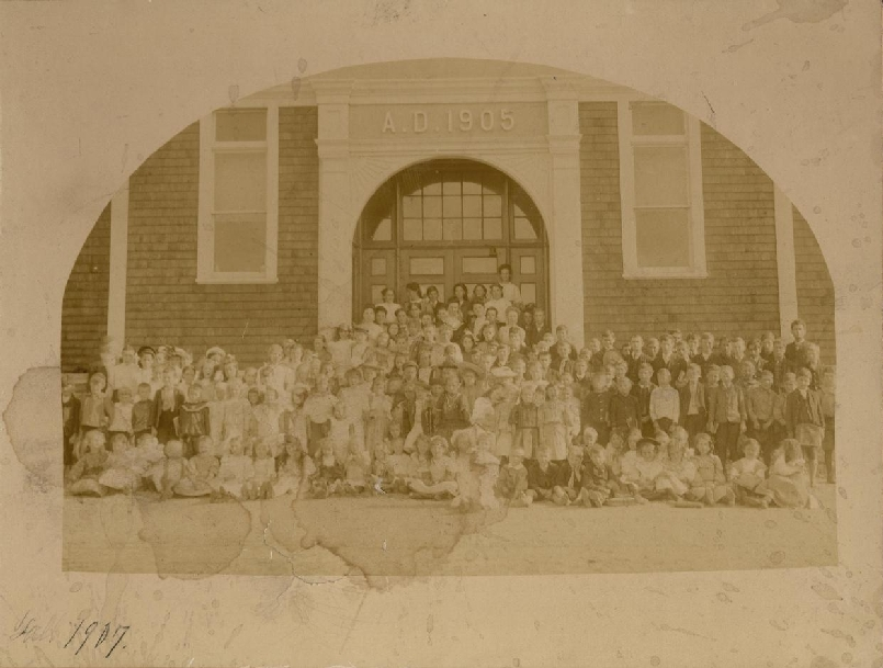 This photo taken in 1907 shows one of the first classes to attend the Riverside Consolidated School.