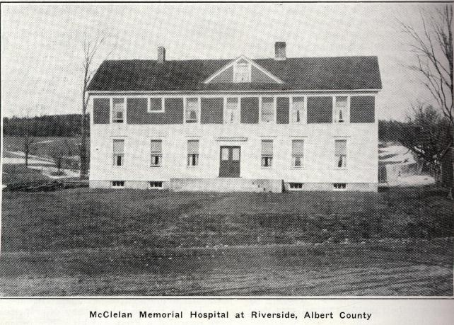 The McClelan Memorial Hospital in Riverside. 1925 Riverside, Albert County, New Brunswick