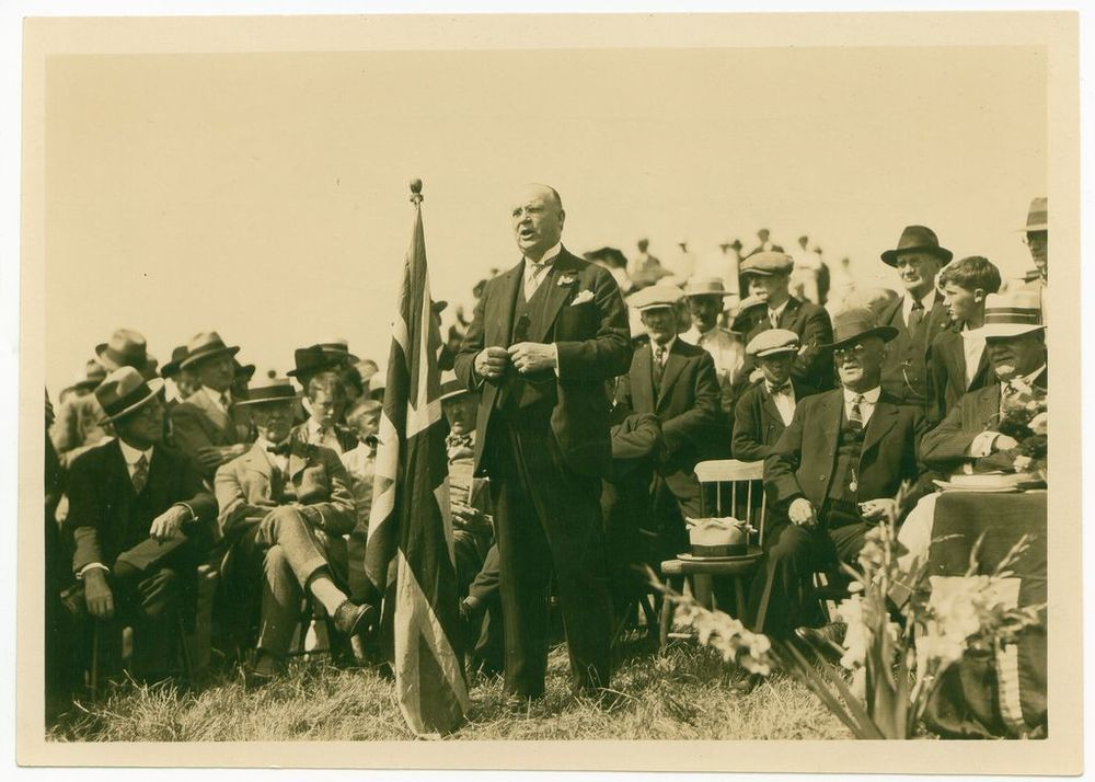 R.B. Bennett addressing a crowd Circa 1930