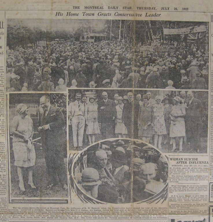 Newspaper article from the Montreal Daily Star printed July 26, 1928 about R.B. Bennett visiting his hometown of Hopewell Cape, New Brunswick, where he delivered the inaugural speech of his cross-Canada speaking tour as the official Leader of the Opposition for Parliament.