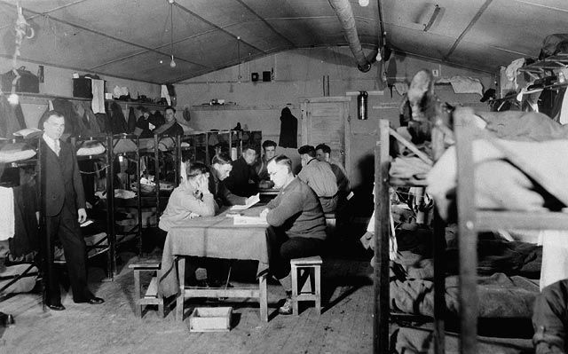 Interior of main sleeping hut - Relief Project No. 27 6 March 1933 Ottawa, Ontario, Canada