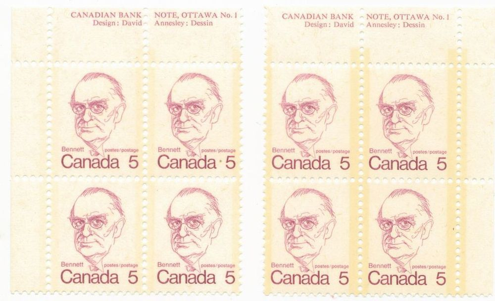Corner blocks of Bennett 5 cents postage stamps   17 October 1973   Ottawa, Ontario, Canada