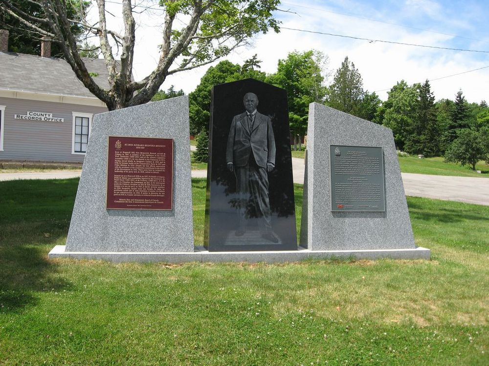 The monument for Prime Minister Richard Bedford Bennett at the Albert County Museum and Prime Minister Bennett Commemorative Centre in Hopewell Cape, New Brunswick.
