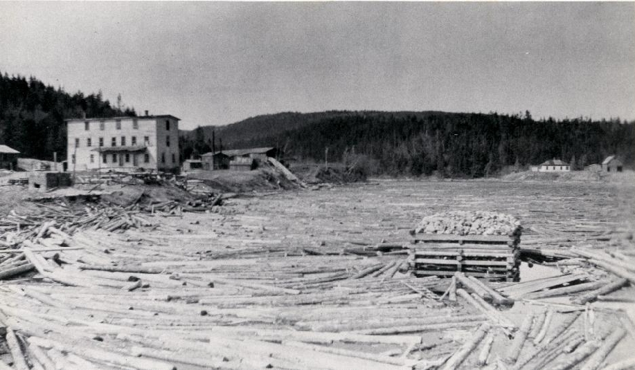 This photo shows a log jam at the mouth of the Point Wolfe River. 1915 Point Wolfe, New Brunswick, Canada