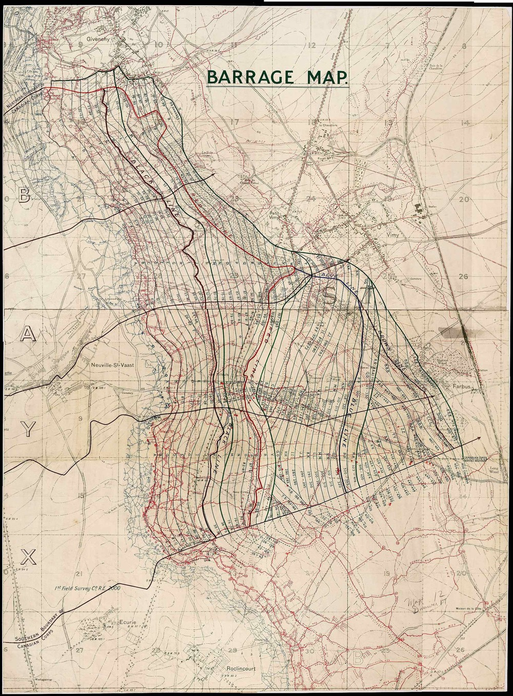 1917 Vimy Ridge Barrage Map