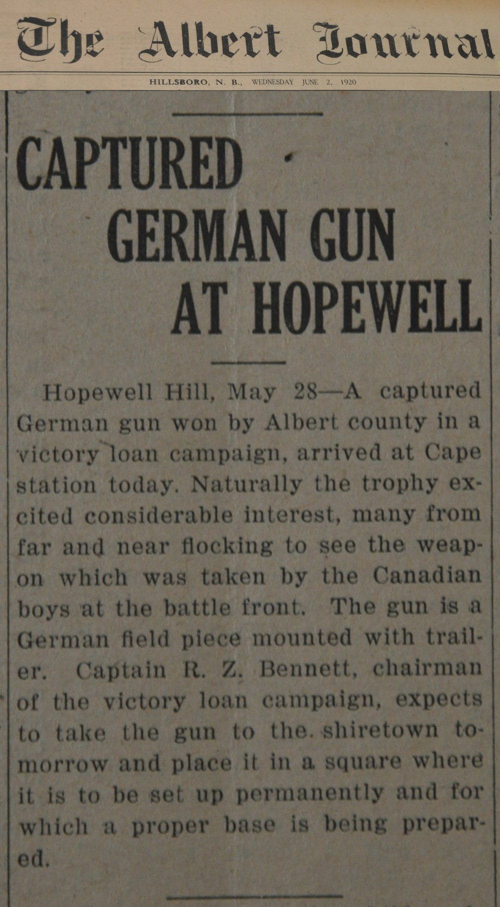 Albert Journal June 2, 1920
