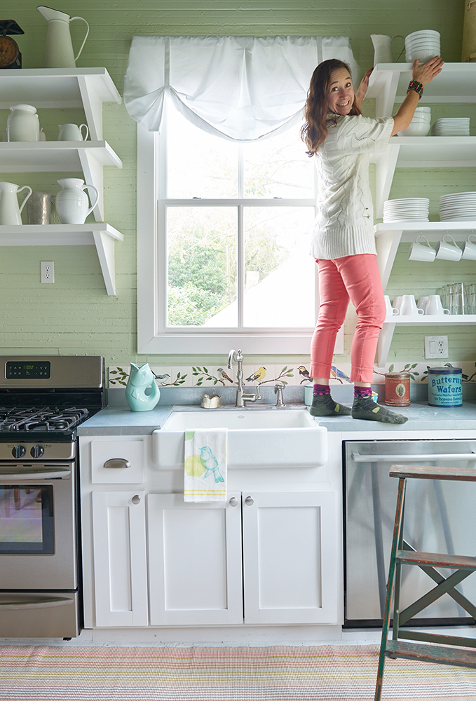 Kitchen shelves require a special touch. Goode Girl is a styling pro! Photo by Brian McWheeney.