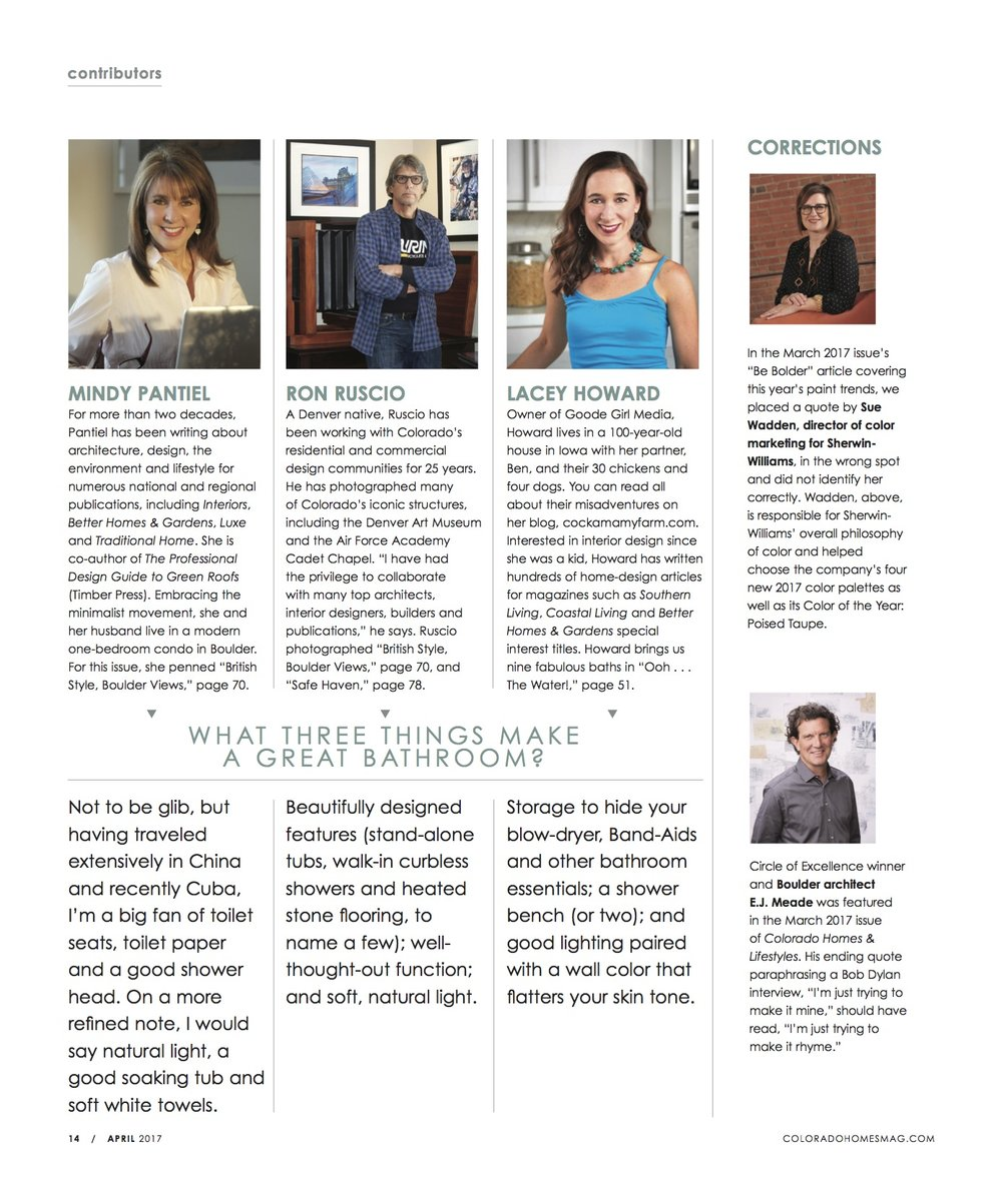 Featured contributor for  Colorado Homes & Lifestyles