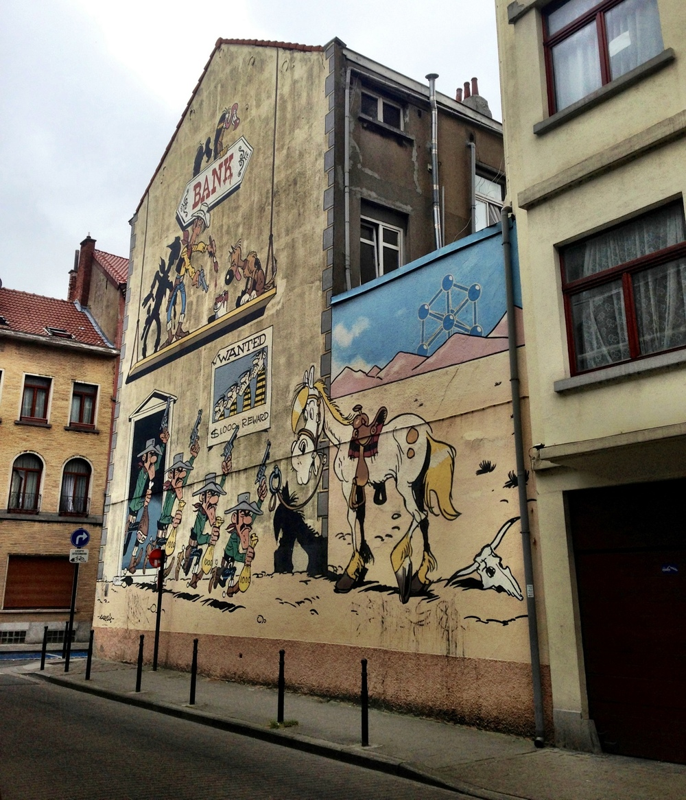 Lucky Luke mural in Brussels