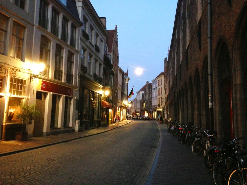 Moonrise in  Bruges, Belgium