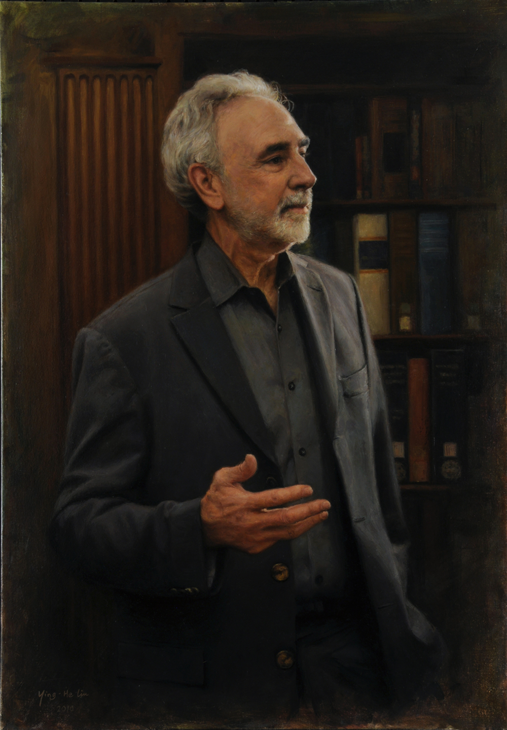 "Professor David Scott Kastan      George M. Bodman Professor of English, Yale University      Oil on linen 40""x28"""