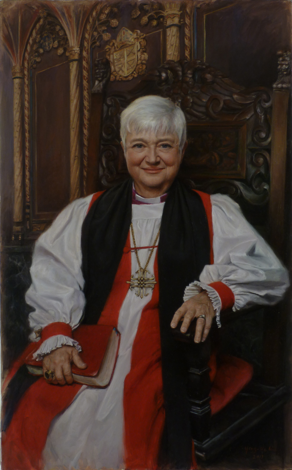 "Rt. Rev. Catherine S. Roskam  Bishop Suffragan of New York The Episcopal Diocese of New York Second Place, 2011 Portrait Society Members Only Competition Oil on linen 48""x30"""