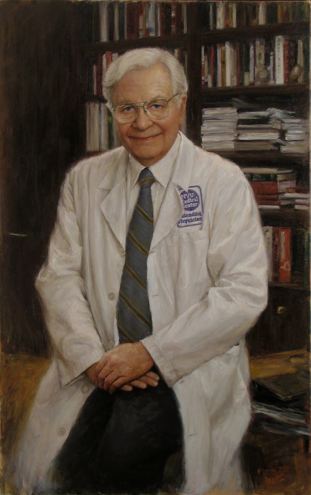 "Saul J. Farber, M.D., MACP Dean of New York University School of Medicine Provost of NYU Medicinal Center President Emeritus of the American College of Physicians Oil on linen 46""x29"""