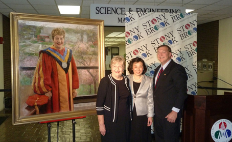 November 12th, 2010 The artist with retired President Shirley Strum Kenny and President Samuel L. Stanley Jr. M.D. of Stony Brook University, NY at the Unveiling of the Official Shirley Strum Kenny Portrait.