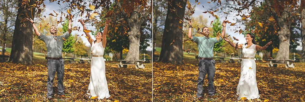 Autumn Leaves Wedding Portrait