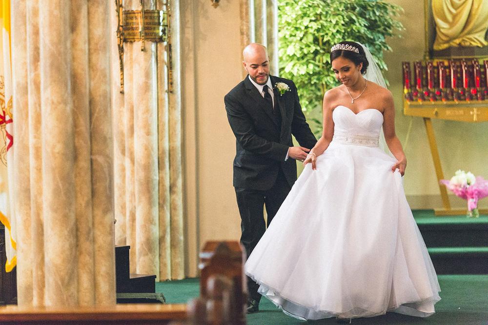 Groom helps Bride
