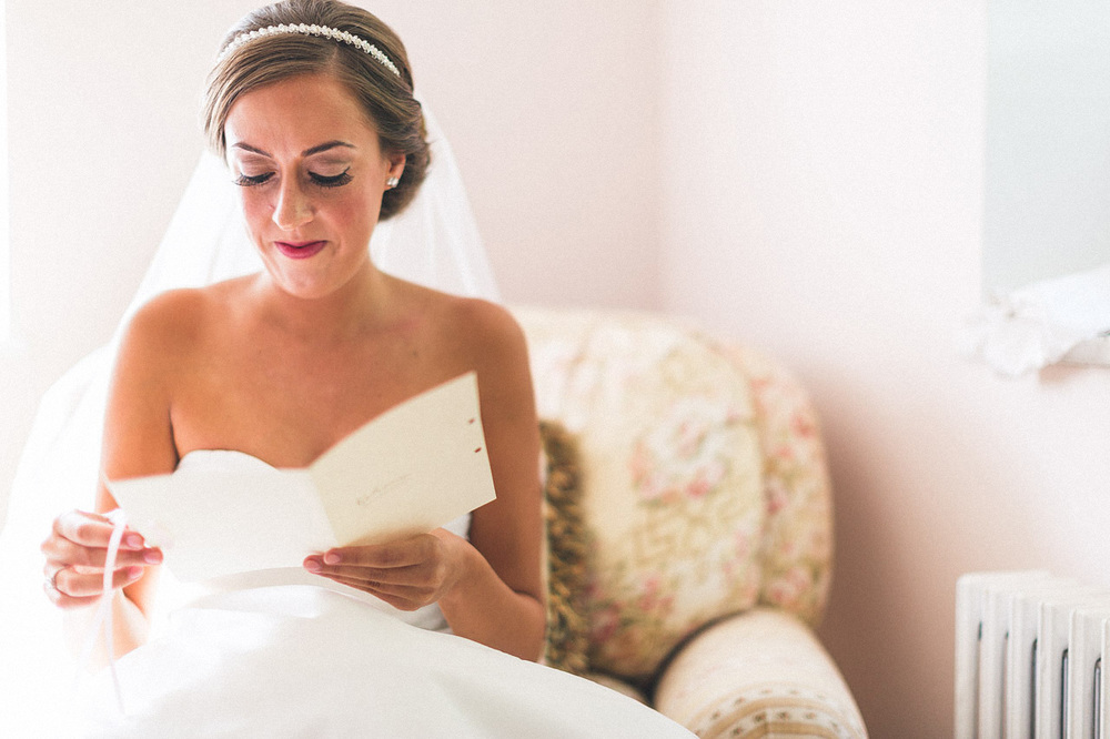 Bride reads letter from Groom
