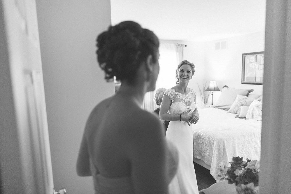 Sister looks at Bride