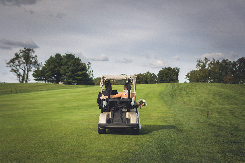 Golf Cart Wedding Photo