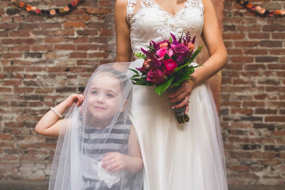 Flower Girl having fun with dress