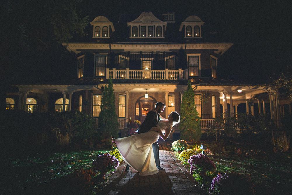 Oakeside Mansion Wedding Night Portrait
