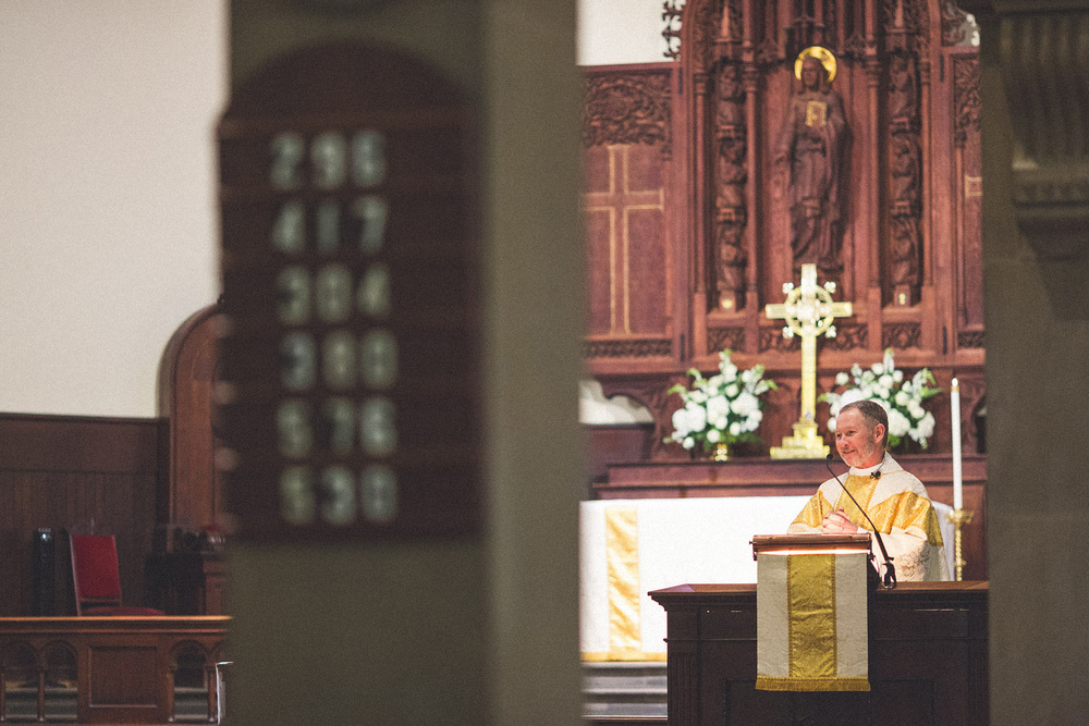 Priest says a few words