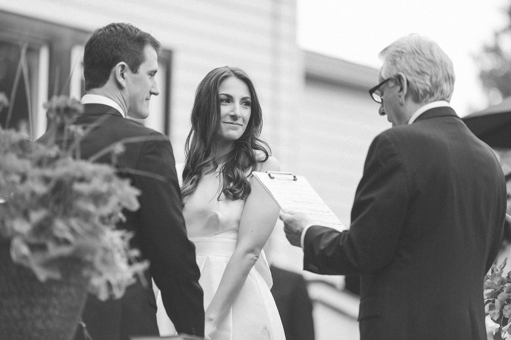 Bride listens to father
