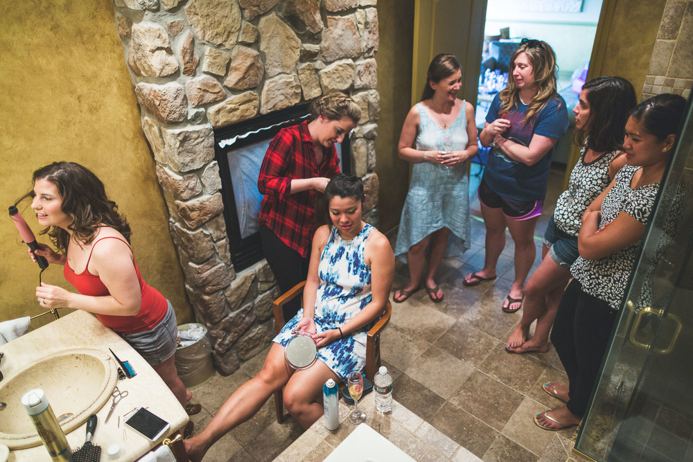 How many bridesmaids can fit into a bathroom?