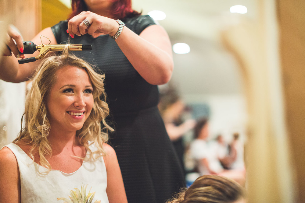 Bride gets her hair done