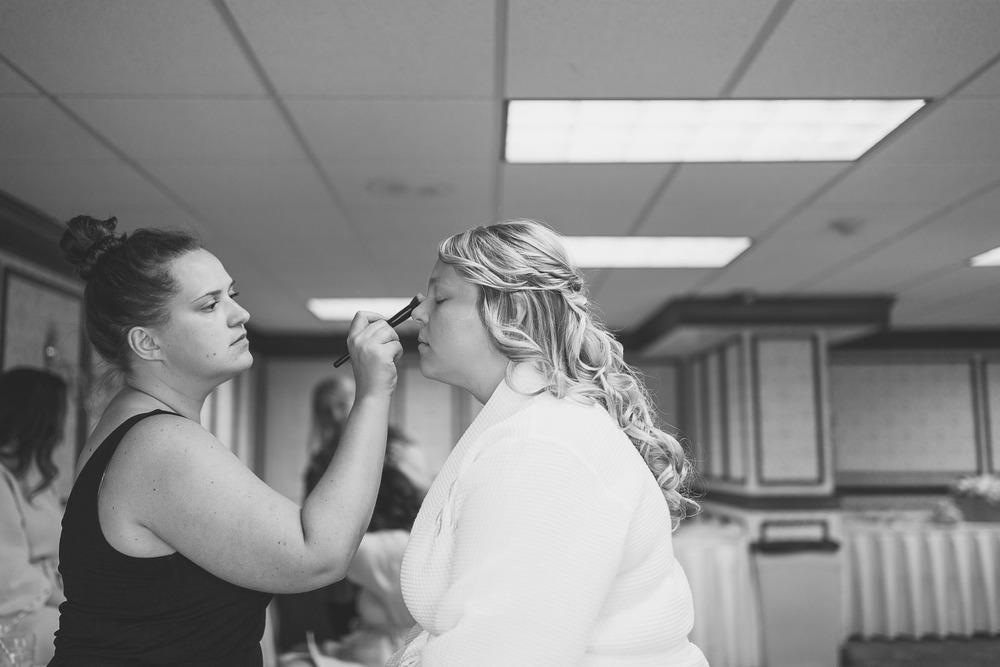 Bride gets makeup