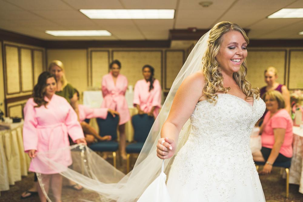 Bride happy in her dress