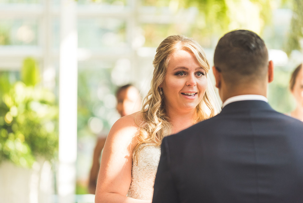 Bride tears up during vows